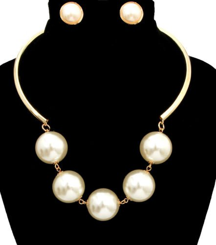Gold and Cream Pearl Necklace Earrings Set  Chunky Pearl Necklace Stud Earrings