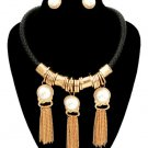 Thick Black Braided Cord  Gold Tassel Pearl Necklace Earrings Set Black Necklace