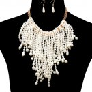 Statement Gold Chain Cream Dangle Drop Pearl Pendant Necklace Earrings Set