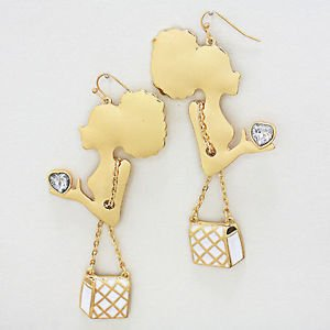 """New Gold Afro Diva Lady with White Padded Purse Handbag Ethnic Gold Earrings 4"""""""