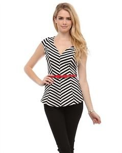Womens Black White Stripe Peplum Top with Red Belt Cap Sleeve Junior S M L