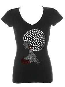 Beautiful Afro Woman Lady T Shirt Rhinestone V Neck Short Sleeve S M L XL