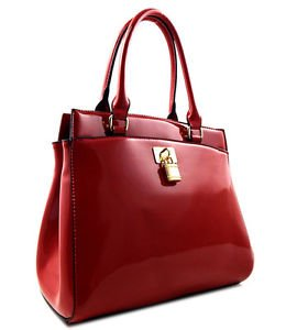 Red Patent Leather Handbag With Lock Purse Zip Shoulder Strap Latest Fashion