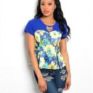 Womens Royal Blue Yellow Floral Peplum Top Flower Short Sleeve Junior Size S M L