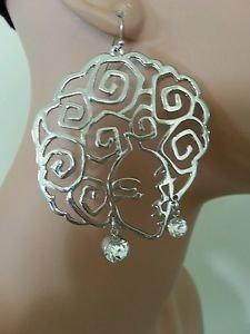 """New Afro Earrings Curly Fro Afro Ethnic Diva Earrings Silver Earrings  3"""""""