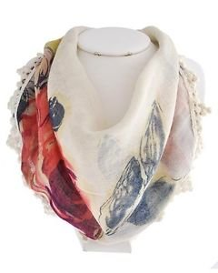 Multi Color Flower Print Scarf Necklace Bib Statement Fashion Jewelry for Women