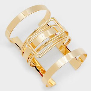 Katui Wide Cutout Cuff Bracelet Gold Plated 3.2 inches Women's Fashion Jewelry