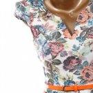 Womens Flower Cream Floral Peplum Top with Orange Belt Cap Sleeve Junior S M L