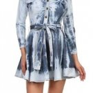Tie Die Jean Dress Flare Dark & Light Blue Denim Tunic Top with Belt For Women