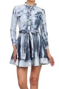 Tie Die Jean Dress Flare Dark & Light Blue Denim Tunic Top with Belt For Women