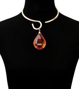 Big Orange Crystal Pendant Necklace Choker Statement Women's Fashion Jewelry