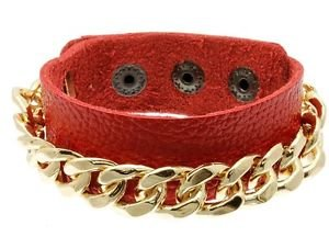 Gold Chain Link Bracelet Red Faux Leather Wrap Snap Style Trendy Fashion Jewelry