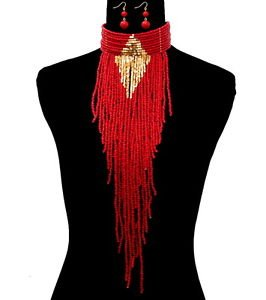 Bold Long Red Bead Necklace Earrings Set Gold Design Statement Fashion Jewelry