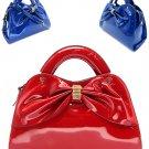 Red Patent Leather Handbag Ribbon Design Purse Zip Shoulder Strap Latest Fashion