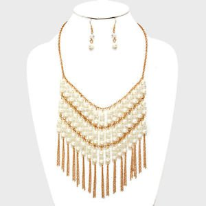 Faux Pearl Gold Chain FringeTassel Necklace Earrings Set Womens Fashion Jewelry