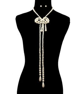Long Bow Shaped Cream Pearl Necklace Set  Design Fashion Accessories Jewelry
