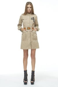 Long Khaki Belted Military Jacket Trench w/ Brooch Pendants Steampunk Gothic