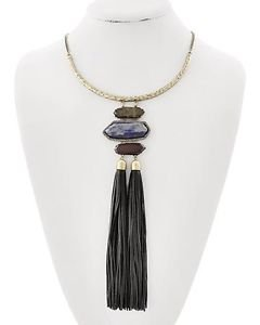 Blue & Brown Stone Black Faux Leather Cord Necklace Long Statement Fashion