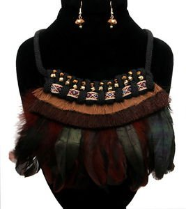 Statement Black Brown Green Thread and Feather Necklace Set Fashion Jewelry