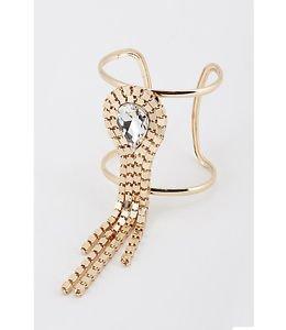 "Gold Chain Teardrop & Stone Open Cuff Cutout Bracelet Fashion Jewelry 2.5"""