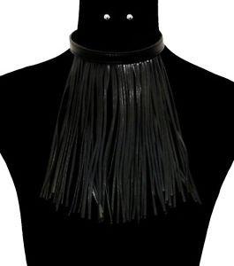 Statement Black Leatherette Tassel Necklace Earrings Set Drop Fringe Milan