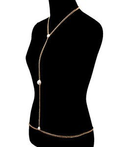 Celebrity Inspired Pearl Body Chain Waist Gold Plated Fashion Jewelry for Women