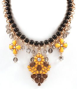 Black Bead Yellow Tear Drop Stone Necklace Gold Plated Chain Lightweight Fashion