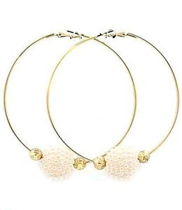 """Large Statement Gold Plated Cream Pearl Bead Hoop Earrings Fashion Jewelry 3"""""""