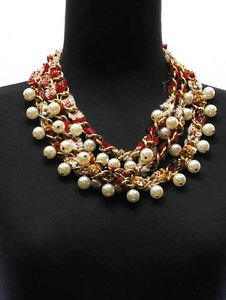Red Cotton Plaid Tweed Cream Pearl Necklace Earrings Set Fashion Jewelry