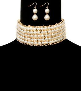 Gold Plated Chunky Multi Row Choker Pearl Necklace Set Statement Jewelry