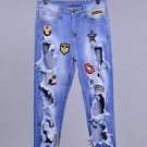 New Extreme Holes Cut Ripped Destroyed Distressed Boyfriend Patch Jeans Denim
