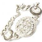 Silver Leo Lion Head Pendant Chain Bracelet Crystal Greek Key Fashion Jewelry