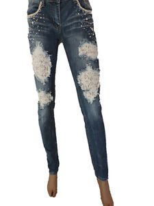 Machine Patch Lace Jeans Skinny Ripped Distressed Destroyed Embellished Denim