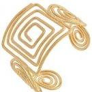 "Gold Plated Geometric Wide Cuff Bracelet Adjustable Fashion Jewelry 2"" Wide"