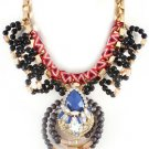 Blue Stone Black Bead Crystal Necklace with Gold Box Chain Fabric Wrapping