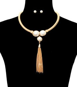 Gold Omega Chain Cream Pearlsand Tassel Necklace Earrings Set Fashion Jewelry