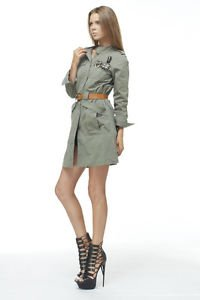 Long Khaki Green Belted Military Jacket Trench w/ Brooch Pendants Steampunk Goth