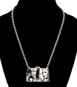 Black and White Magazine Clutch  Pendant Necklace Gold Chain Fashion Jewelry
