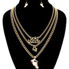 Gold Chain Gold Bunny AJ 1992 White Sneaker Pendant Necklace Earrings Set