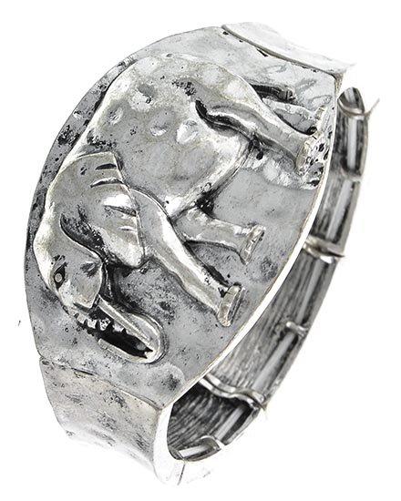 Chunky Wide Burnished Silver Elephant Bracelet Stretchable Fashion Jewelry