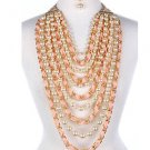 Cream Chunky Long Dangle Drop Pearl w/Weaved Pink Ribbon Necklace Set Statement