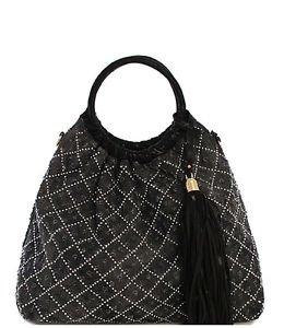 Washed Jean Handbag with Tassel Distresed Denim Fabric Black Large Hobo