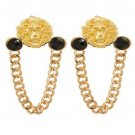 Black Stone Chain Gold Lion Head Earrings Curb Chain Link Gold Earrings 3 inches