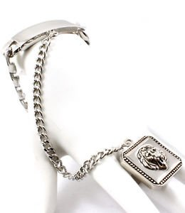 Silver Leo Lion Head ID Plate Bracelet Attached Ring Trendy Fashion Jewelry