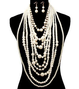 The Glam Cream Chunky Long Dangle Drop Pearl Necklace Set Statement Jewelry