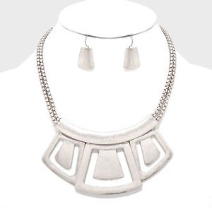 Matte Silver Geometric Metal Cutout Bib Necklace Earrings Set Fashion Jewelry