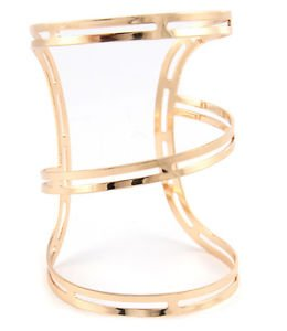 Lined Minimal Cutout Wide Cuff Bracelet Gold Plated 3.5 inches Fashion Jewelry