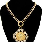 Bold Lion Head Pendant Necklace Faux Pearls Crystal Stones Statement Gold Chain