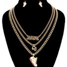 Gold Chain Golden Moments White Sneaker Pendant Necklace Earrings Set
