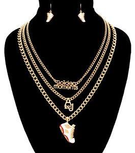 Gold Chain Golden Moments White Sneaker Pendant Necklace Earrings Set